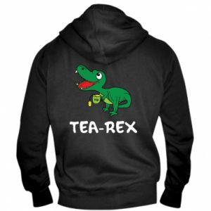 Męska bluza z kapturem na zamek Mały dinozaur z herbatą - PrintSalon