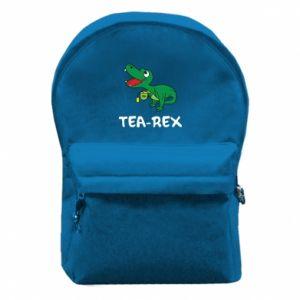 Plecak z przednią kieszenią Mały dinozaur z herbatą - PrintSalon