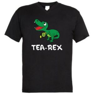 Men's V-neck t-shirt Little dinosaur with tea