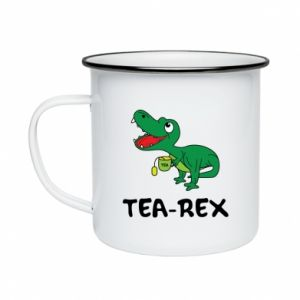 Kubek emaliowane Mały dinozaur z herbatą - PrintSalon