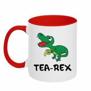 Kubek dwukolorowy Mały dinozaur z herbatą - PrintSalon