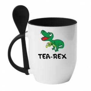 Mug with ceramic spoon Little dinosaur with tea