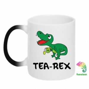 Chameleon mugs Little dinosaur with tea