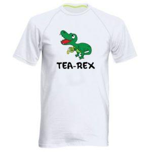Męska koszulka sportowa Mały dinozaur z herbatą - PrintSalon