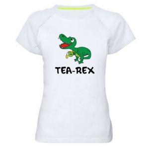 Damska koszulka sportowa Mały dinozaur z herbatą - PrintSalon