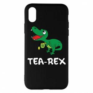 Etui na iPhone X/Xs Mały dinozaur z herbatą - PrintSalon