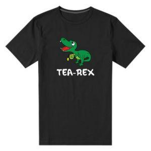 Męska premium koszulka Mały dinozaur z herbatą