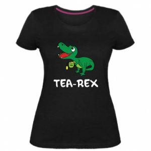 Damska premium koszulka Mały dinozaur z herbatą - PrintSalon