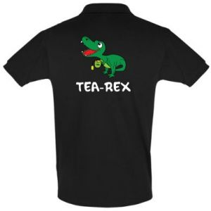 Men's Polo shirt Little dinosaur with tea