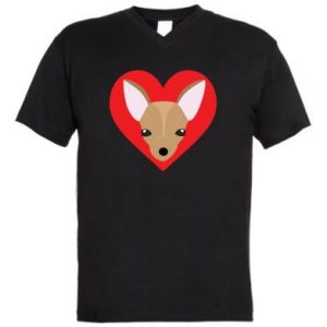 Men's V-neck t-shirt A little dog