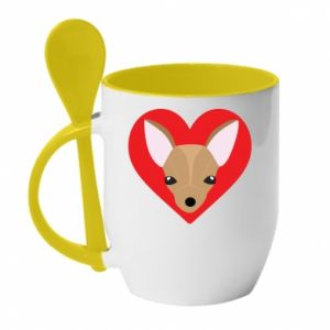 Mug with ceramic spoon A little dog