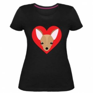 Damska premium koszulka Mały pies - PrintSalon