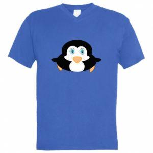 Męska koszulka V-neck Mały pingwin podnosi wzrok