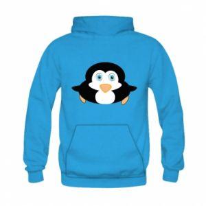 Bluza z kapturem dziecięca Mały pingwin podnosi wzrok