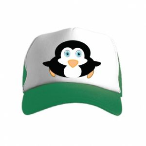 Kid's Trucker Hat Little penguin looks up