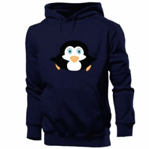 Męska bluza z kapturem Mały pingwin podnosi wzrok - PrintSalon