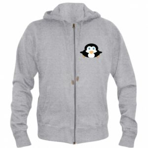 Męska bluza z kapturem na zamek Mały pingwin podnosi wzrok - PrintSalon