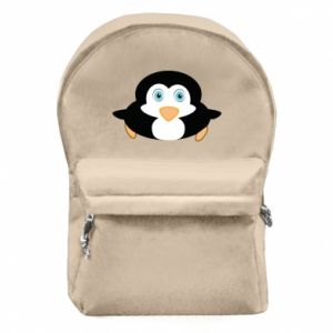 Backpack with front pocket Little penguin looks up