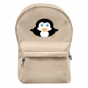 Plecak z przednią kieszenią Mały pingwin podnosi wzrok - PrintSalon