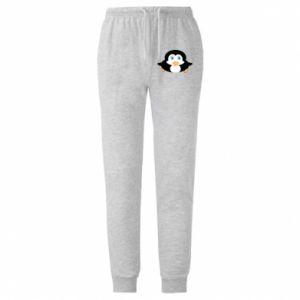 Męskie spodnie lekkie Mały pingwin podnosi wzrok - PrintSalon