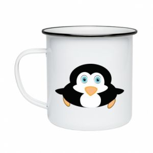 Kubek emaliowane Mały pingwin podnosi wzrok - PrintSalon