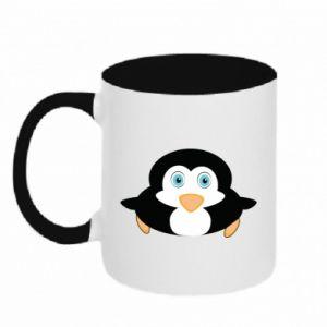 Kubek dwukolorowy Mały pingwin podnosi wzrok - PrintSalon