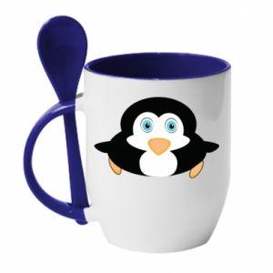 Kubek z ceramiczną łyżeczką Mały pingwin podnosi wzrok