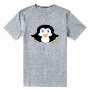 Męska premium koszulka Mały pingwin podnosi wzrok - PrintSalon