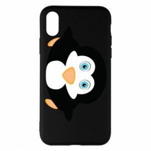 Etui na iPhone X/Xs Mały pingwin podnosi wzrok