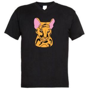 Męska koszulka V-neck Mały tygrys - PrintSalon