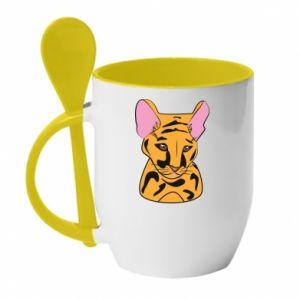 Kubek z ceramiczną łyżeczką Mały tygrys