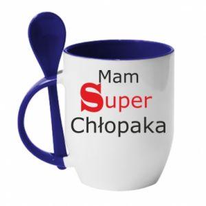 Mug with ceramic spoon I have a Super Boy - PrintSalon