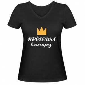 Women's V-neck t-shirt The queen of the couch - PrintSalon
