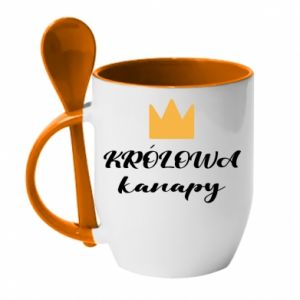 Mug with ceramic spoon Mama, the queen of the couch - PrintSalon