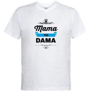 Męska koszulka V-neck Mama to dama