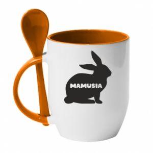 Kubek z ceramiczną łyżeczką Mamusia - królik