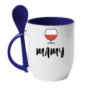 Kubek z ceramiczną łyżeczką Mama i wino