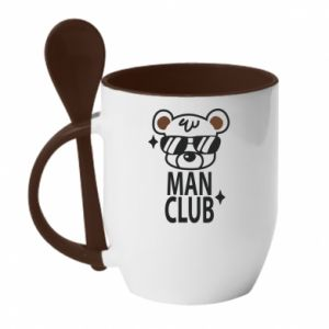 Kubek z ceramiczną łyżeczką Man Club - PrintSalon