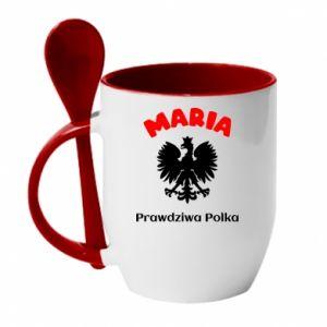 Mug with ceramic spoon Maria is a real Pole - PrintSalon