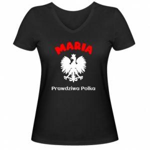 Women's V-neck t-shirt Maria is a real Pole - PrintSalon