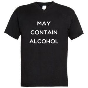 Męska koszulka V-neck Napis: May contain alcohol