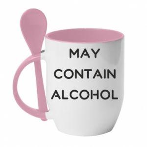 Kubek z ceramiczną łyżeczką Napis: May contain alcohol