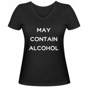Damska koszulka V-neck Napis: May contain alcohol