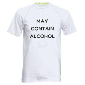 Męska koszulka sportowa Napis: May contain alcohol