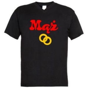 Męska koszulka V-neck Maż i obrączki