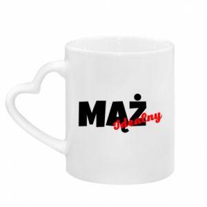 Mug with heart shaped handle Husband. Ideal