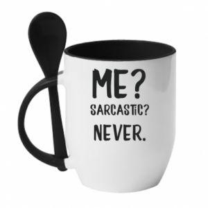 Kubek z ceramiczną łyżeczką Me? Sarcastic? Never.