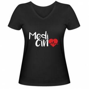 Damska koszulka V-neck Medycyna