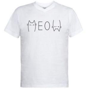 Męska koszulka V-neck Meow kot - PrintSalon