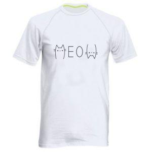 Męska koszulka sportowa Meow kot - PrintSalon